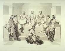 Louis Pierre Henriquel-Dupont: Décoration pour l'Hémicycle des Beaux-Arts (panneau central) d'après Hippolyte dit Paul Delaroche. 1863