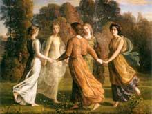 Louis Janmot: le poème de l'âme: rayons de soleil. Huile sur toile, 113 x 145 cm. Lyon, Musée des Beaux-Arts