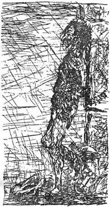 Jules Laforgue: étude sur Tristan Corbière. Eau forte. Frontispice des «Amours jaunes»