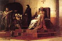 Jean Paul Laurens: le Pape Formose et EtienneVII lors du Concile cadavérique. 1870. Nantes, musée des Beaux Arts