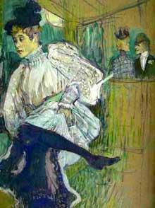 Henri de Toulouse-Lautrec: Jane Avril dansant. 1892. Huile sur toile, 85 x 45 cm. Paris, Musée d'Orsay