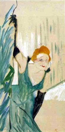Henri de Toulouse-Lautrec: Yvette Guilbert son public. 1894. huile sur carte photographique, 48 x 28 cm. Albi, Musée Toulouse-Lautrec