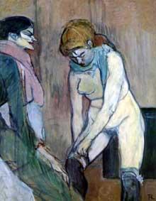 Henri de Toulouse-Lautrec: fille remontant ses bas. 1894. Huile sur carton, 58 x 48 cm. Paris, Musée d'Orsay