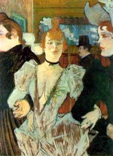 Henri de Toulouse-Lautrec: la Goulue arrive au Moulin Rouge avec deux filles. 1892. Huile sur carton, 59 x 79 cm. New York, The Museum of Modern Art