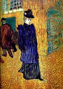 Henri de Toulouse-Lautrec: Jeanne Avril à la sortie du Moulin Rouge. 1892. Pastel, 101 x 55 cm. Londres, Courtland institute