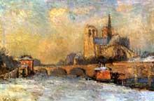 Albert Lebourg: le Quai de la Tournelle et Notre-Dame de Paris. 1909. Huile sur toile, 53 x 81 cm. Paris, Musée Marmottan