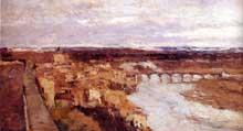 Albert Lebourg: vue de la ville de Pont du Château. Vers 1885. Huile sur toile. Collection privée