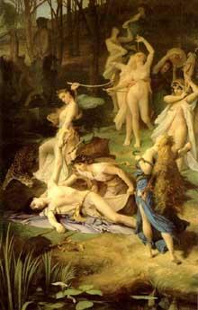 Emile Levy: la mort d'Orphée. Huile sur toile, 189 x 118 cm. Collection privée.