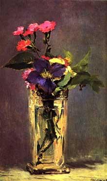 Edouard Manet: œillets et clématites dans un vase de cristal. 1882-1883. Huile sur toile, 149 x 115 cm. Paris, Musée d'Orsay