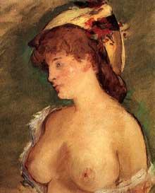 Edouard Manet: blonde aux seins nus. 1875. Pastel à l'huile. Paris, musée d'Orsay