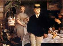 Edouard Manet: Le Déjeuner dans l'atelier. 1868. Huile sur toile, 118 cm x 153 cm. Munich, Neue Pinacothek
