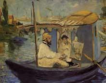 Edouard Manet: Monet peignant dans son bateau-atelier. 1874. Huile sur toile, 80 cm x 98 cm. Munich, Neue Pinacothek