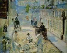 Edouard Manet: La Rue Mosnier aux paveurs. 1878. Huile sur toile, 64 cm x 80 cm. Cambridge, Fitzwilliam Museu