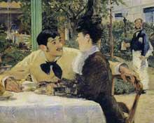 Edouard Manet: Chez le père Lathuille. 1879. Huile sur toile, 92 cm x 112 cm. Tournai (Belgique), musée des Beaux-Arts