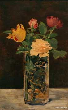 Edouard Manet: Roses et tulipe dans un vase. 1883. Huile sur toile. Paris, Musée d'Orsay