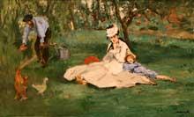 Edouard Manet: la famille Monet dans leur jardin à Argenteuil. 1874. Huile sur toile. New York, Metropolitan Museum