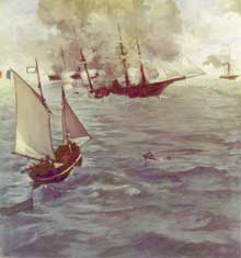 Edouard Manet: Le Combat du Kearsarge et de l'Alabama 1865. Huile sur toile, 134 x 127 cm. Philadelphia Museum of Art