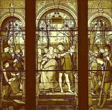 Luc Olivier Merson: vitrail de la «danse des fiançailles» réalisé par Eugène Stanislas Oudinot pour l'appartement des Bell, New York