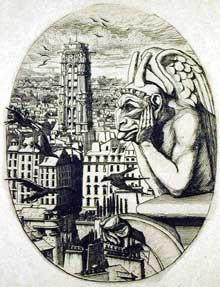 Charles Meryon: le Stryge. Extrait de «20 gravures du vieux Paris». 1853. Gravure, 16,8 x 12,7 cm