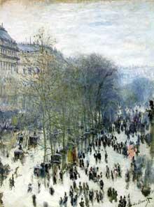 Claude Monet: Boulevard des Capucines. 1873. Huile sur toile,, 79.4 x 59 cm. Kansas City, Nelson-Atkins Museum of Art