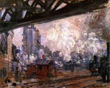 Claude Monet: La gare de Saint-Lazare, vue extérieure. 1877. Huile sur toile. Collection particulièr