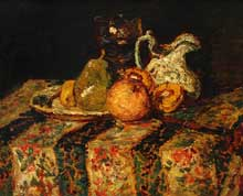 Adolphe Joseph Monticelli : Nature morte avec fruits et pichet de vin. 1874. Chicago, Art Institute