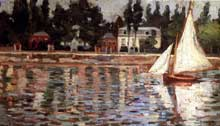 Alphonse Maureau: Bords de la Seine. Huile sur panneau, 14,5 x 24 cm. Florence, Galleria d'Arte Moderna