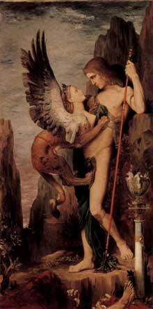 Gustave Moreau: Œdipe et le Sphinx. 1864. Huile sur toile, 206 x 105 cm. New York, Metropolitan Museum