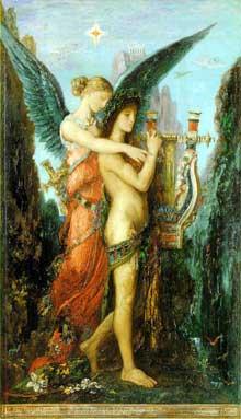 Gustave Moreau: Hésiode et la Muse. 1891. Huile sur toile, 59 x 34.5 cm. Paris, Musée d'Orsay