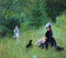 Berthe Morisot: sur l'herbe, Edma et ses enfants. 1874. Paris, petit Palais.