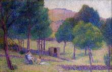 Hippolyte Petitjean: paysage idyllique. Huile sur toile