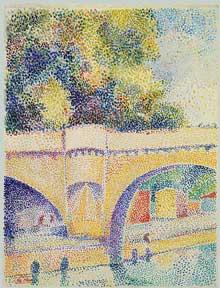 Hippolyte Petitjean: le Pont Neuf. Vers 1912-1914. Couleurs à l'eau et gouache sur papier, 250 x 190 cm. New York, Metropolitan Museum