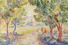 Hippolyte Petitjean: Village et clocher. 1912-1929. Couleurs à eau sur papier, 30 x 45 cm. Madrid, Museo Thyssen-Bornemisza