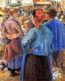 Camille Pissarro: Le marché à la volaille, Pontoise. 1882. Los Angeles, Norton Simon Foundation