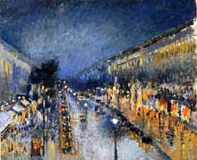 Camille Pissarro: Boulevard Montmartre, effet de nuit. 1897. Londres, National Gallery
