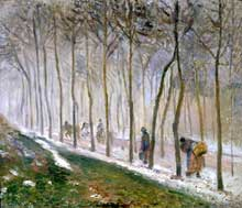 Camille Pissarro : Route, effet de neige. 1879. Leicester, New Walk Museum and Art Gallery
