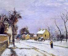 Camille Pissarro: la route de Versailles à Louvenciennes. 1870. Huile sur toile. Collection particulière