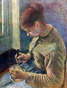 Camille Pissarro: Jeune Paysanne prenant son Café. 1881. Huile sur toile, 64 x 54 cm. Chicago, Art Institute