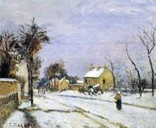 Camille Pissarro: la route de Versailles à Louveciennes. 1870. Huile sur toile. Collection particulière