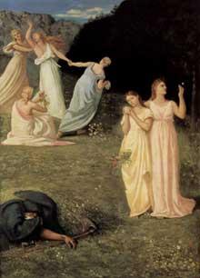 Pierre Puvis de Chavannes: La Mort et les jeunes filles. 1872. Huile sur toile, 146 x 107 cm. Williamstown (Massachusetts), Sterling and Francine Clark Art Institut