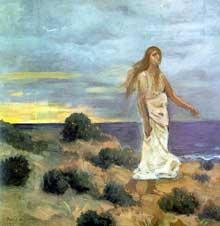 Pierre Puvis de Chavannes: folle au bord de la mer. 1857. huile sur toile. Saint-Pétersbourg, musée de l'Ermitage.