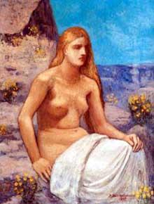 Pierre Puvis de Chavannes: la Madeleine au repentir. 1897. Huile sur toile, 116 x 89 cm.