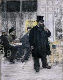 Jean-François Raffaëlli: Les buveurs s'absinthe, 1881. Huile sur toile, 110.2 x 110.2 cm. Collection privée