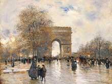 Jean-François Raffaëlli: l'arc de triomphe, effet d'automne. Huile sur toile. Grenoble, musée de Grenoble