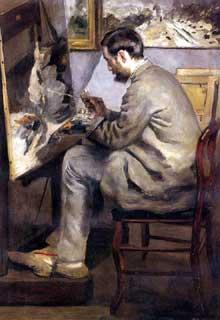 Auguste Renoir: Bazille peignant «le héron». 1867. Paris, Musée d'Orsay