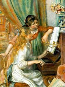 Auguste Renoir: jeunes filles au piano. 1892. Huile sur toile. Paris, Musée d'Orsay. Ce tableau a été commandé par la direction des Beaux-Arts. Il existe plusieurs autres versions de l'œuvre, dans la collection Walter-Guillaume (Musée de l'Orangerie), au Metropolitan Museum de New York et dans différentes collections particulières