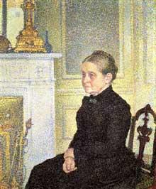 Théo Van Rysselberghe: Madame Charles Maus. 1890. Huile sur toile. 142 x 119 cm. Bruxelles, Musées Royaux des Beaux Arts