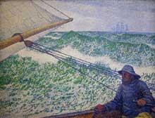 Théo Van Rysselberghe: L'homme à la barre. 1892. 80 x 60 cm. Paris, musée d'Orsay