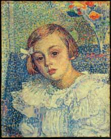 Théo Van Rysselberghe: portrait de jeune fille. Huile sur toile. Bruxelles, Musées Royaux des Beaux Arts