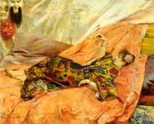 Georges Antoine Rochegrosse: Sarah Bernardt dans un intérieur chinois. 80 x 100cm.Collection privée